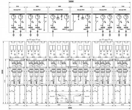 Рис. 8. Однолинейная схема главных цепей и габаритные размеры подстанции с двумя секциями сборных шин на базе КРУ серии TEL
