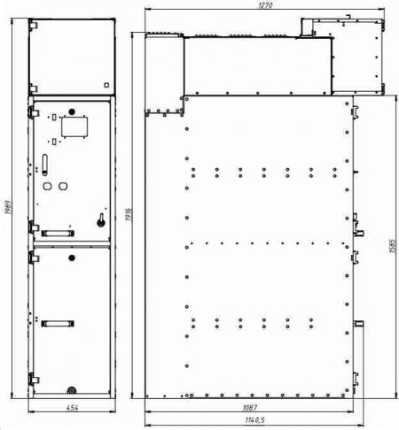 Рис. 3. Габаритные и присоединительные размеры КРУ Вертикаль пристенной установки.