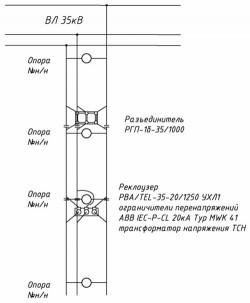Рис. 2. Схема размещения оборудования на опорах ВЛ 35 кВ